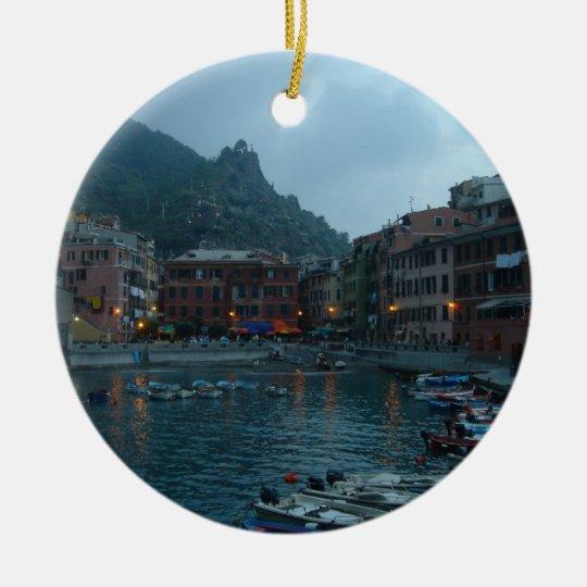 Cinque Terre at Dusk Ceramic Ornament