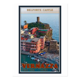 Cinque Terre - castillo de Vernazza Belforte Tarjetas Postales