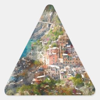 Cinque Terre in Italy Triangle Sticker