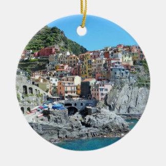 Cinque Terre, Italia Adorno Navideño Redondo De Cerámica