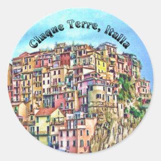 Cinque Terre, Italia Pegatina Redonda