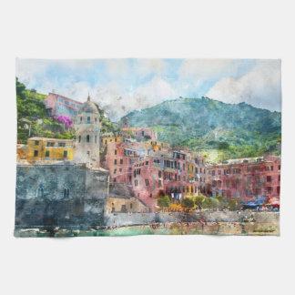 Cinque Terre Italy in the Italian Riviera Kitchen Towel