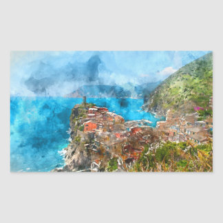 Cinque Terre Italy in the Italian Riviera Rectangular Sticker