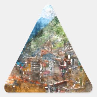 Cinque Terre Italy in the Italian Riviera Triangle Sticker