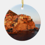 Cinque Terre, Italy Double-Sided Ceramic Round Christmas Ornament