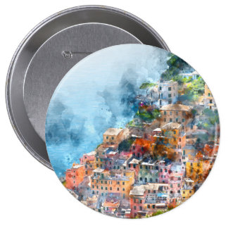 Cinque Terre Italy Watercolor Button