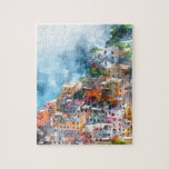 "Cinque Terre Italy Watercolor Jigsaw Puzzle<br><div class=""desc"">Beautiful colorful cityscape on the mountains over Mediterranean sea,  Europe,  Cinque Terre,  traditional Italian architecture - Digital Art Watercolor</div>"