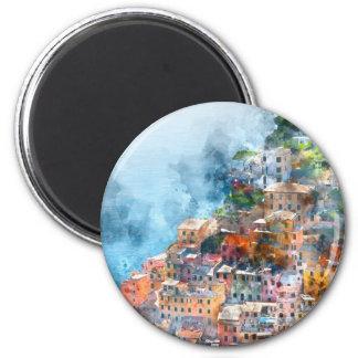 Cinque Terre Italy Watercolor Magnet