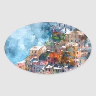 Cinque Terre Italy Watercolor Oval Sticker