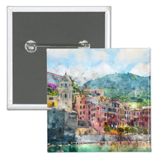 Cinque Terre Italy Watercolor Pinback Button