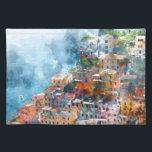 "Cinque Terre Italy Watercolor Placemat<br><div class=""desc"">Beautiful colorful cityscape on the mountains over Mediterranean sea,  Europe,  Cinque Terre,  traditional Italian architecture - Digital Art Watercolor</div>"