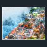 "Cinque Terre Italy Watercolor Postcard<br><div class=""desc"">Beautiful colorful cityscape on the mountains over Mediterranean sea,  Europe,  Cinque Terre,  traditional Italian architecture - Digital Art Watercolor</div>"