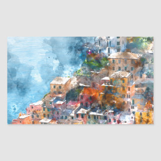 Cinque Terre Italy Watercolor Rectangular Sticker