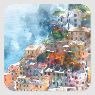 Cinque Terre Italy Watercolor Square Sticker
