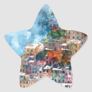 Cinque Terre Italy Watercolor Star Sticker