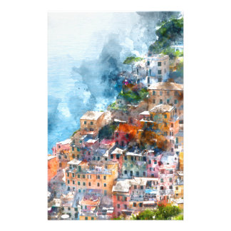 Cinque Terre Italy Watercolor Stationery