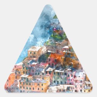 Cinque Terre Italy Watercolor Triangle Sticker
