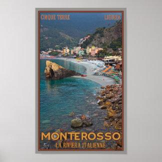 Cinque Terre - playa de Monterosso de la mañana Póster