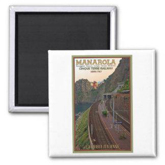 Cinque Terre Railway - Manarola 2 Inch Square Magnet