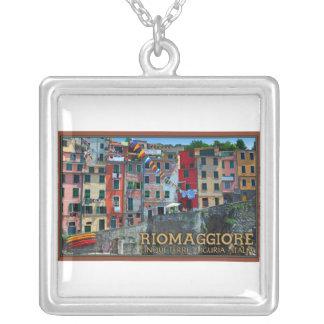 Cinque Terre - Riomaggiore Houses Square Pendant Necklace