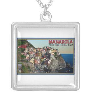 Cinque Terre - The Town of Manarola Square Pendant Necklace