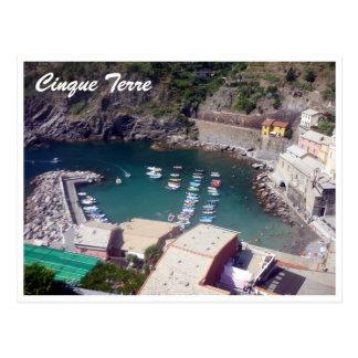 cinque terre vernazza harbor postcard