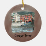 Cinque Terre - Vernazza Double-Sided Ceramic Round Christmas Ornament