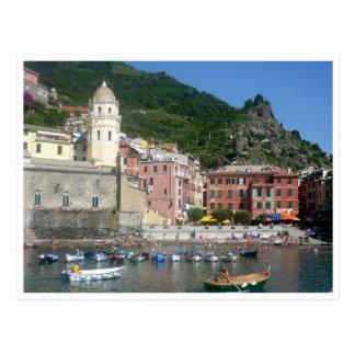 cinque vernazza boats postcard