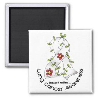 CINTA 1 de la FLOR de la conciencia del cáncer de  Imán Cuadrado