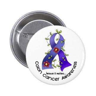 CINTA 1 de la FLOR de la conciencia del cáncer de  Pin Redondo 5 Cm
