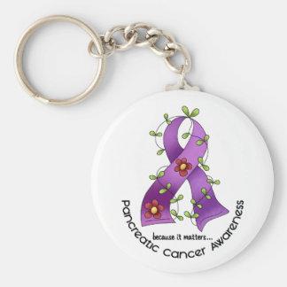 CINTA 1 de la FLOR del cáncer pancreático Llaveros
