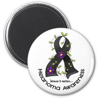 CINTA 1 de la FLOR del melanoma Imanes Para Frigoríficos