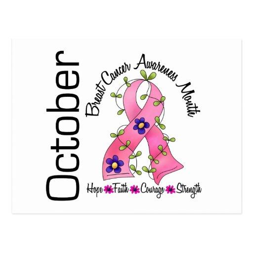 Cinta 1 de la flor del mes de la conciencia del cá tarjetas postales