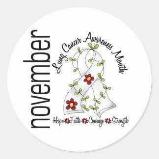 Cinta 1 de la flor del mes de la conciencia del pegatina redonda