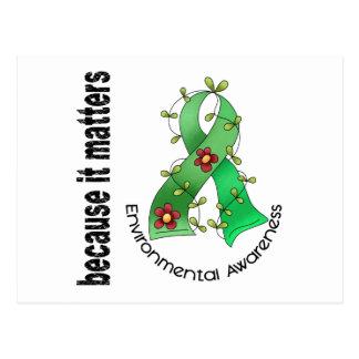 Cinta 3 de la flor de la conciencia ambiental tarjetas postales