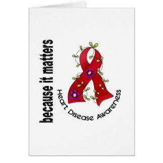 Cinta 3 de la flor de la enfermedad cardíaca tarjeta de felicitación