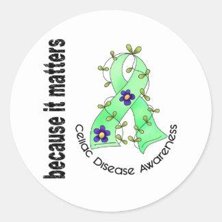 Cinta 3 de la flor de la enfermedad celiaca pegatina redonda