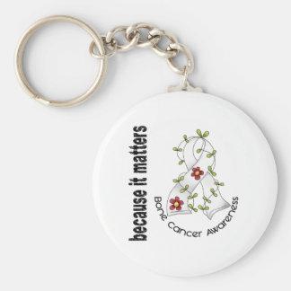 Cinta 3 de la flor del cáncer de hueso llaveros personalizados