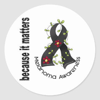 Cinta 3 de la flor del cáncer de piel del melanoma pegatina redonda