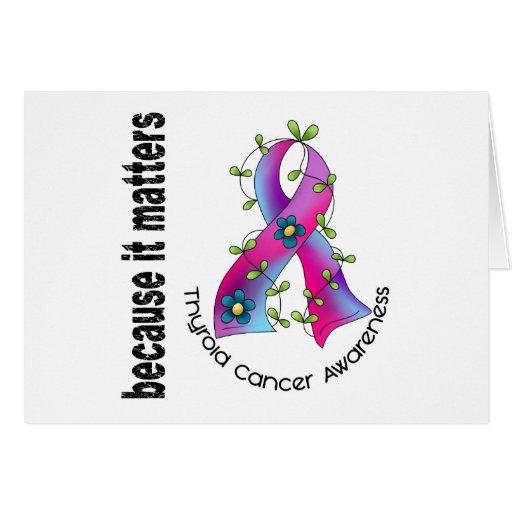 Cinta 3 de la flor del cáncer de tiroides tarjeta
