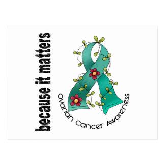 Cinta 3 de la flor del cáncer ovárico tarjeta postal