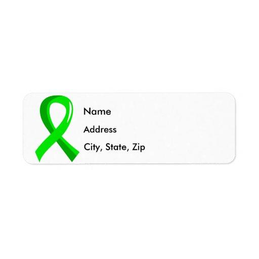 Cinta 3 de la verde lima de la enfermedad de Lyme Etiquetas De Remite