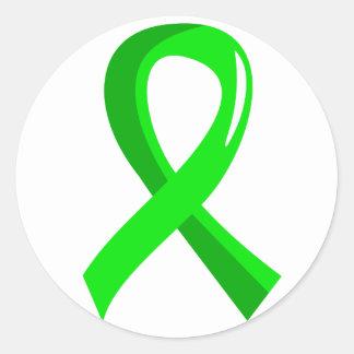 Cinta 3 de la verde lima del linfoma Non-Hodgkin Pegatina Redonda