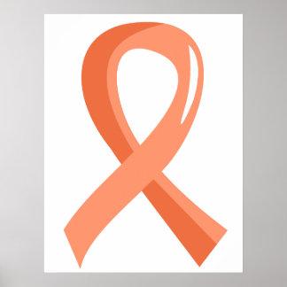 Cinta 3 del melocotón del cáncer endometrial poster