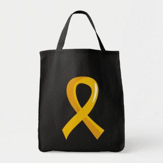 Cinta 3 del oro del cáncer de la niñez bolsa lienzo