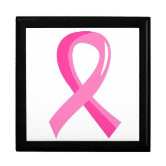 Cinta 3 del rosa del cáncer de pecho cajas de joyas