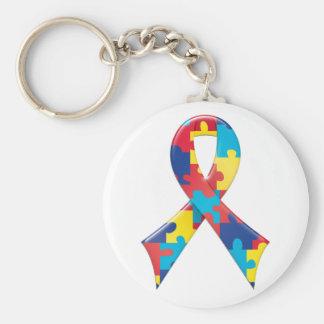 Cinta A4 de la conciencia del autismo Llavero