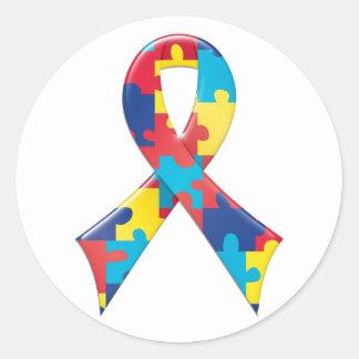Cinta A4 de la conciencia del autismo Pegatina Redonda