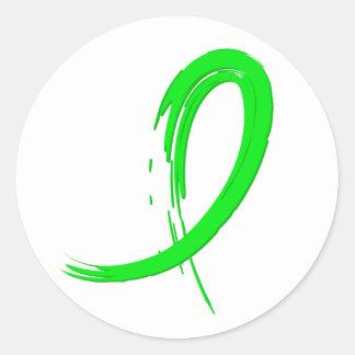 Cinta A4 de la verde lima del linfoma Non-Hodgkin Pegatina Redonda