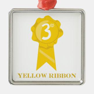 Cinta amarilla adorno navideño cuadrado de metal